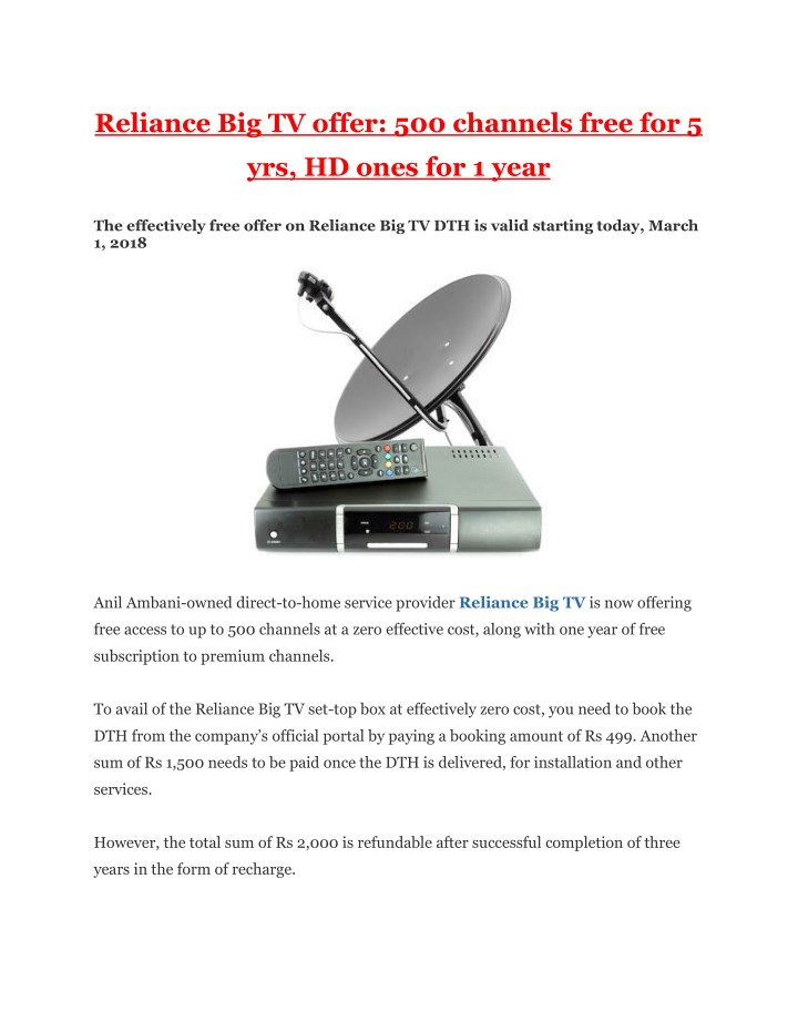 reliance big tv offer 500 channels free for 5 n.