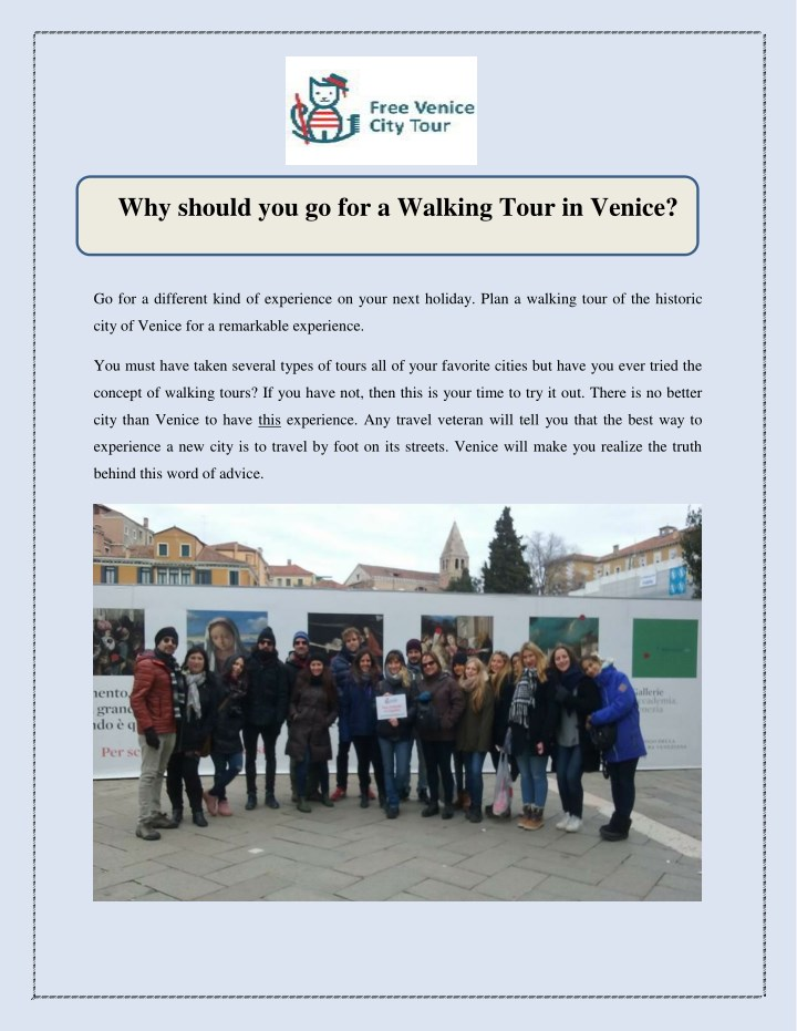why should you go for a walking tour in venice n.