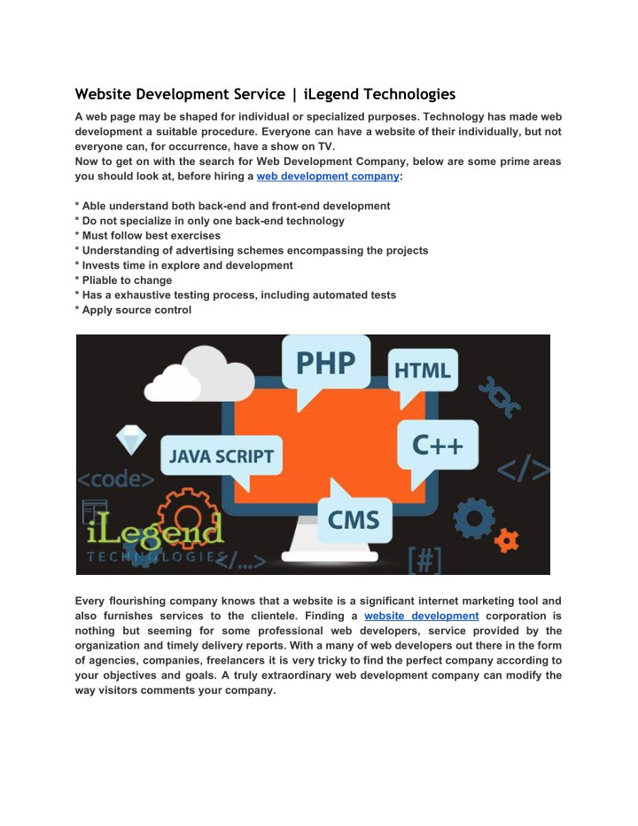 website development service ilegend technologies n.