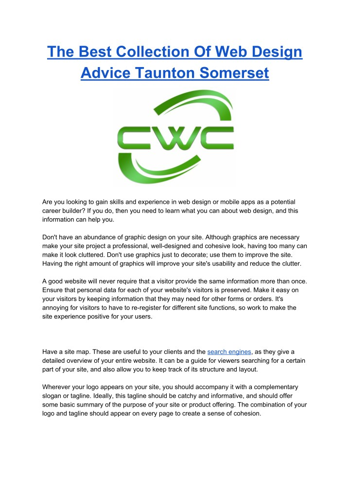 the best collection of web design advice taunton n.