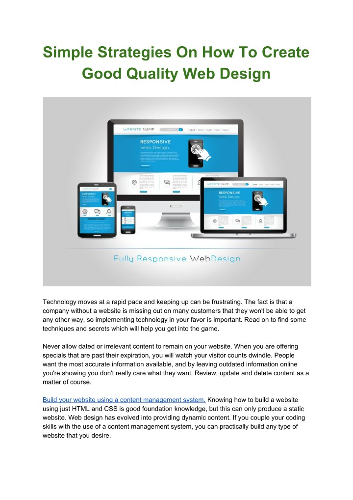 simple strategies on how to create good quality n.