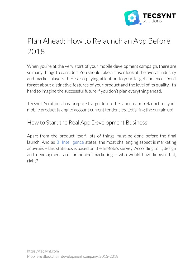 plan ahead how to relaunch an app before 2018 n.