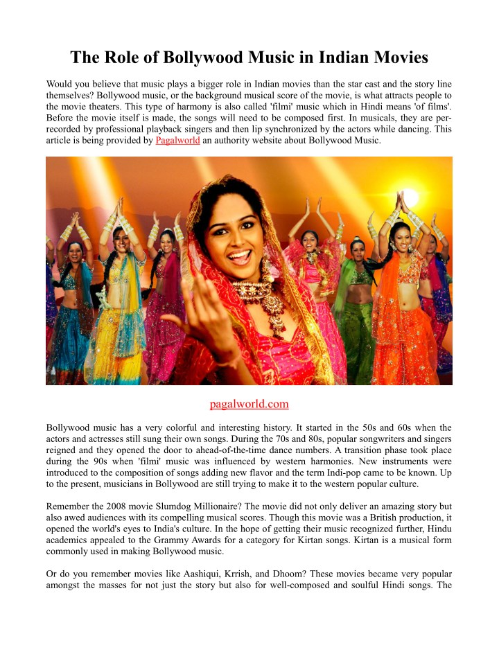 the role of bollywood music in indian movies n.