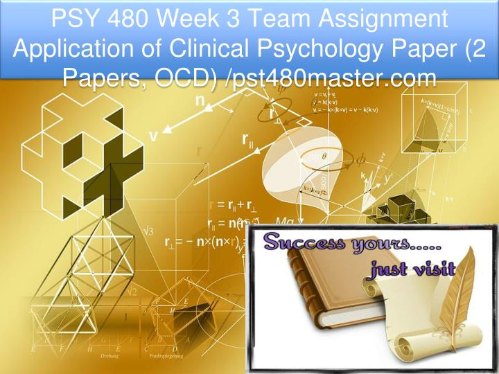 psy 480 week 3 team assignment application n.
