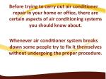 before trying to carry out air conditioner repair