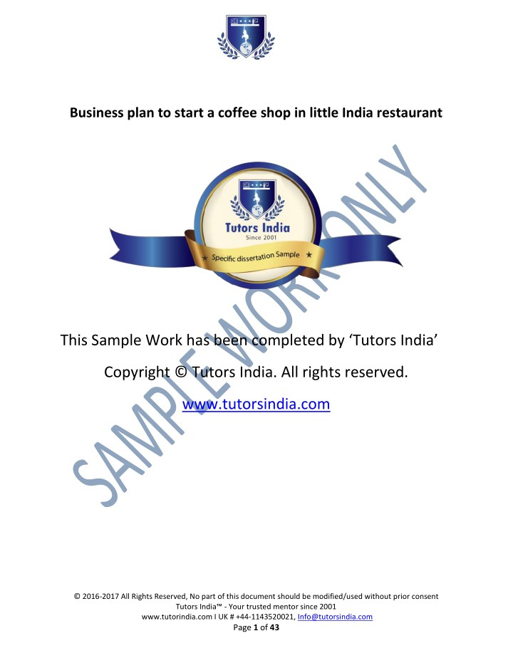 business plan to start a coffee shop in little n.