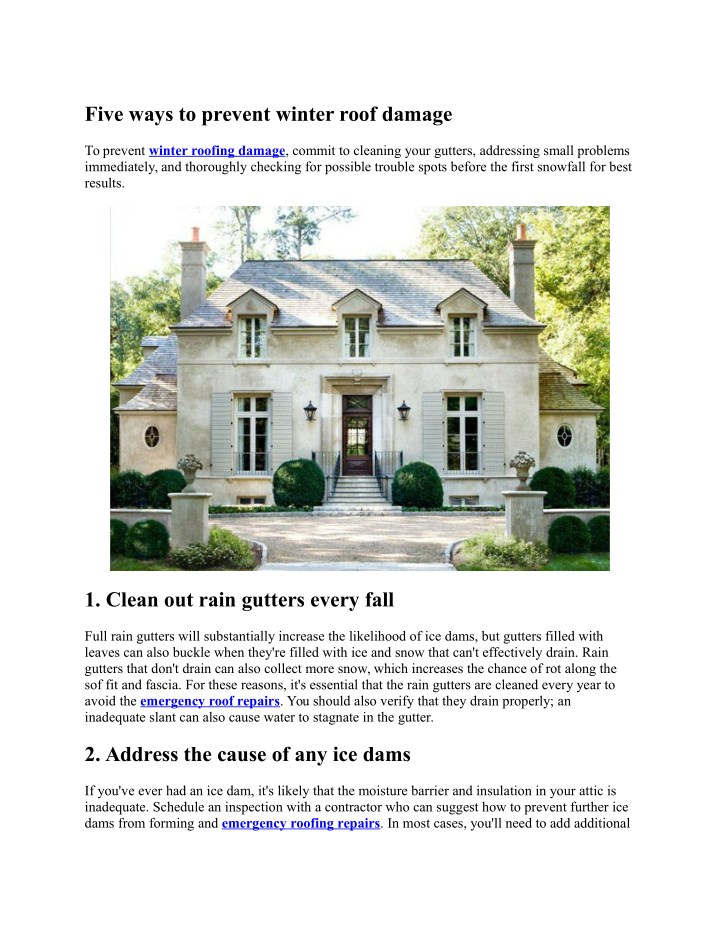 five ways to prevent winter roof damage n.
