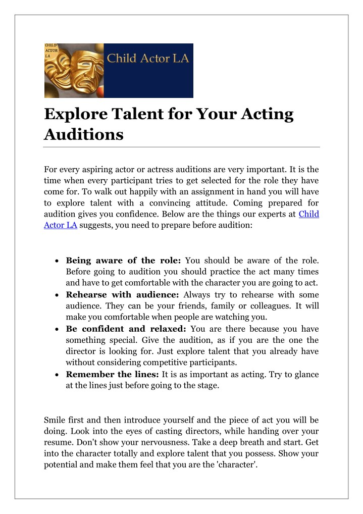 explore talent for your acting auditions n.