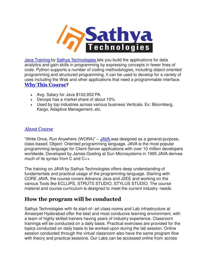 java training by sathya technologies lets n.