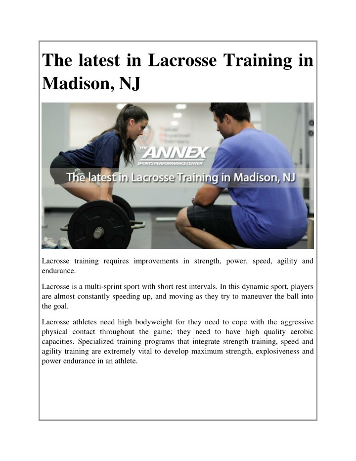 the latest in lacrosse training in madison nj n.