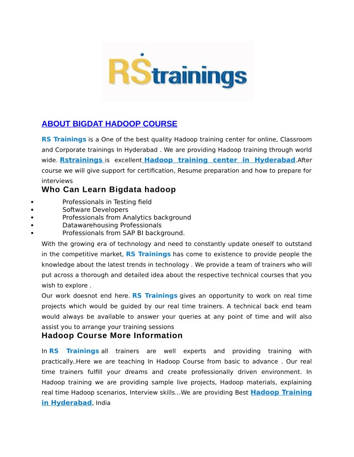 about bigdat hadoop course n.