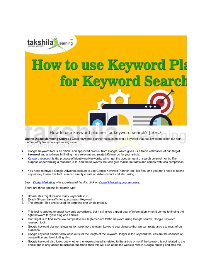 how to use keyword planner for keyword search seo n.