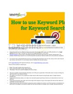 how to use keyword planner for keyword search seo