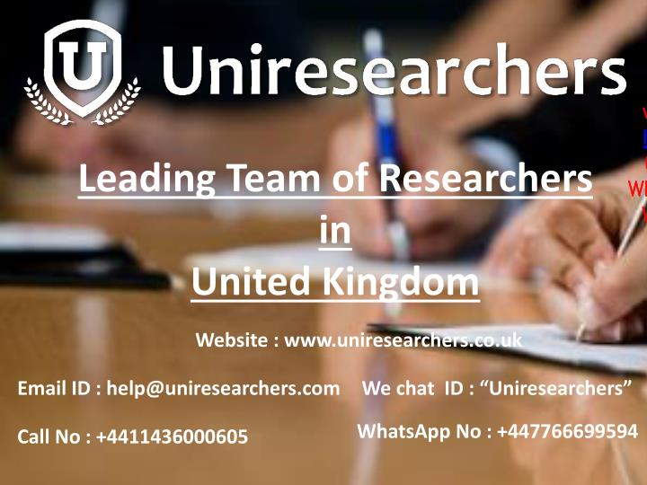 leading team of researchers in united kingdom n.