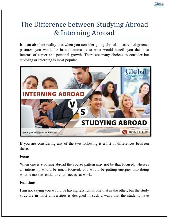 the difference between studying abroad interning n.