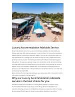 luxury accommodation adelaide service