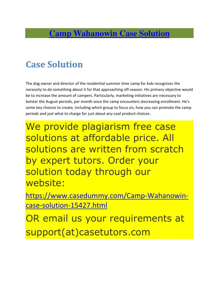 camp wahanowin case solution n.