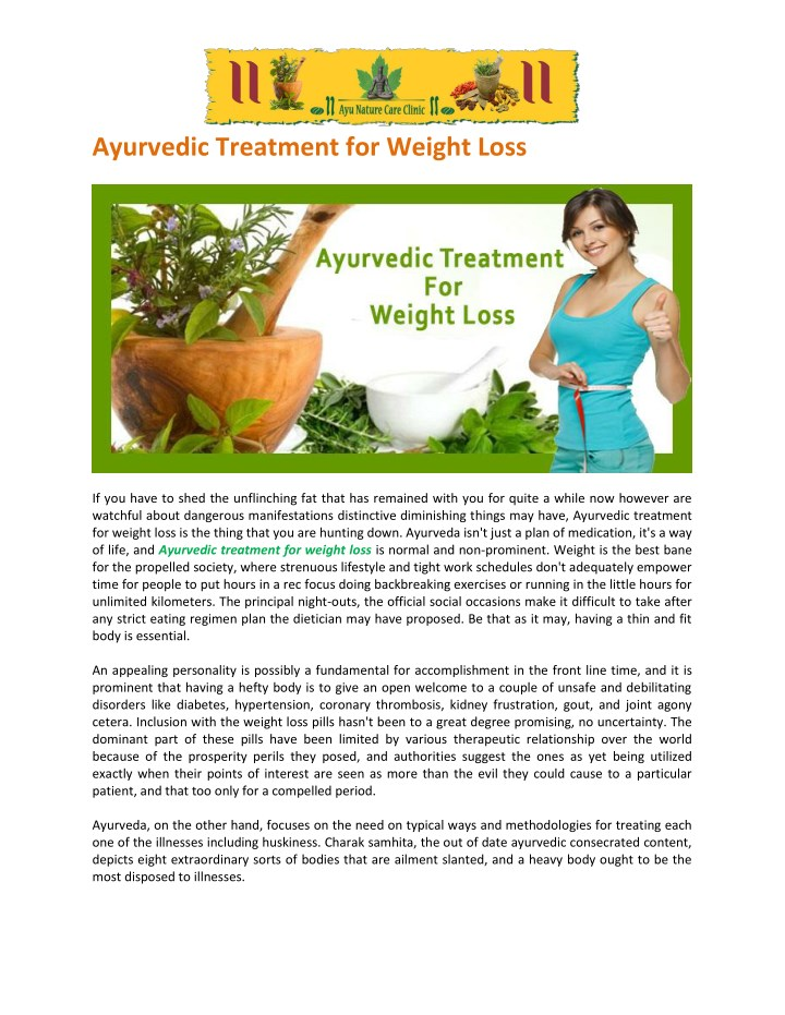 ayurvedic treatment for weight loss n.