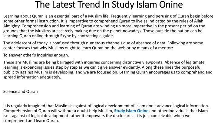 the latest trend in study islam onine n.