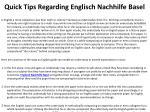 quick tips regarding englisch nachhilfe basel