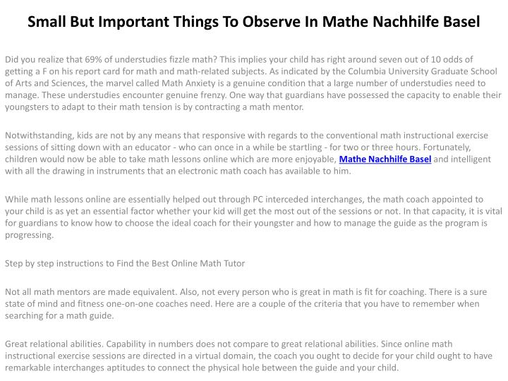 small but important things to observe in mathe nachhilfe basel n.