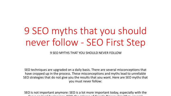 9 seo myths that you should never follow seo first step n.