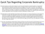 quick tips regarding corporate bankruptcy