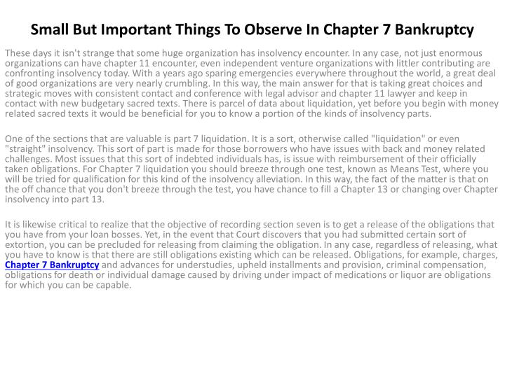 small but important things to observe in chapter 7 bankruptcy n.
