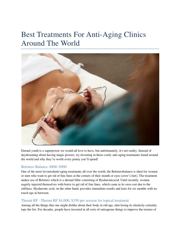best treatments for anti aging clinics around n.