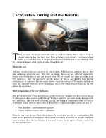 car window tinting and the benefits