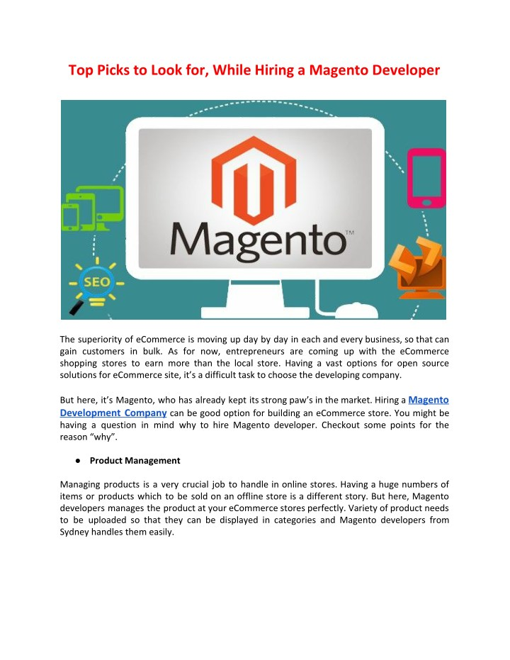 top picks to look for while hiring a magento n.