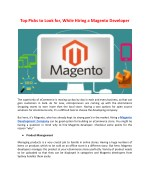 top picks to look for while hiring a magento