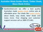 australian made garden sheds timber sheds absco
