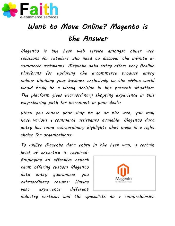 want to move online magento is the answer n.