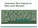 common sex issues in men and women