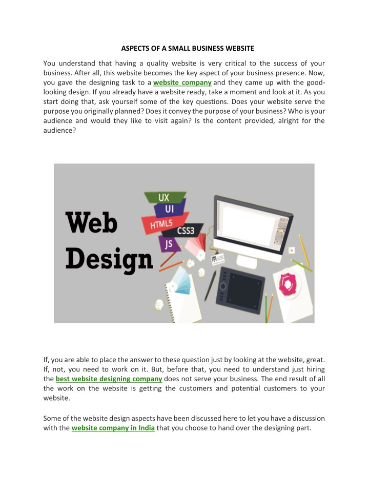 aspects of a small business website n.