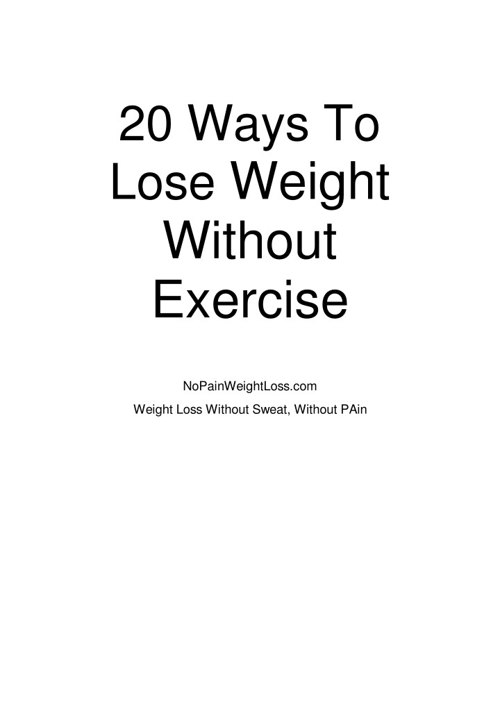 20 ways to lose weight without exercise n.