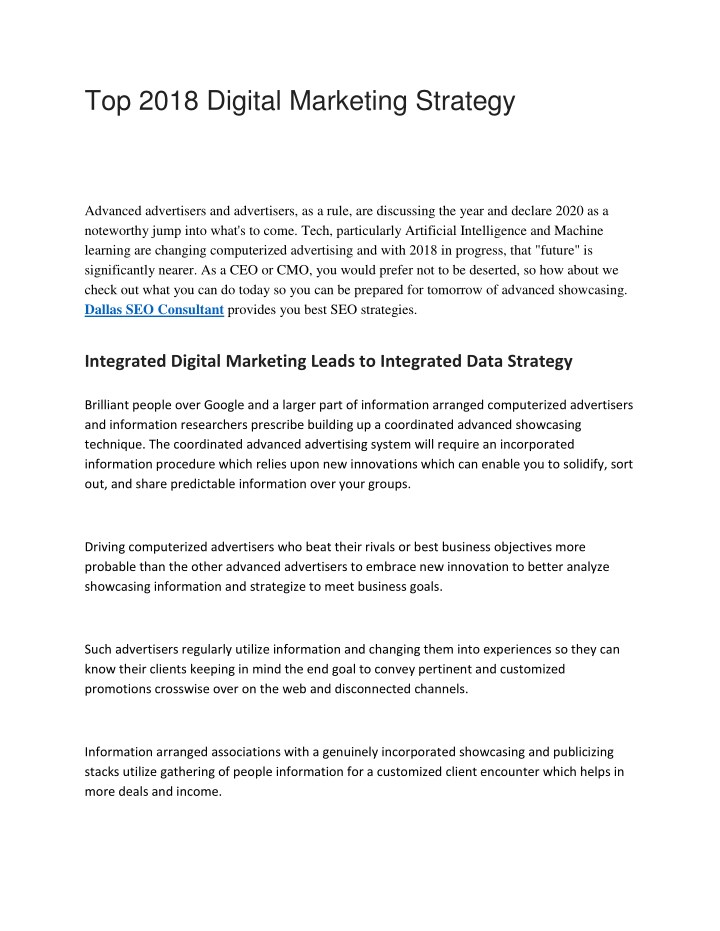 top 2018 digital marketing strategy n.