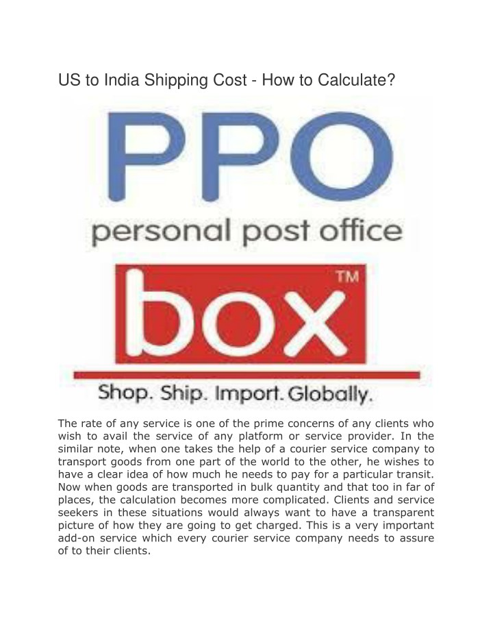 us to india shipping cost how to calculate n.
