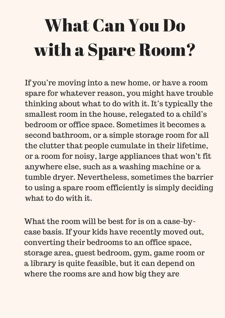 what can you do with a spare room n.