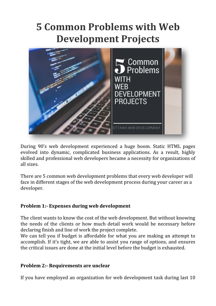 5 common problems with web development projects n.