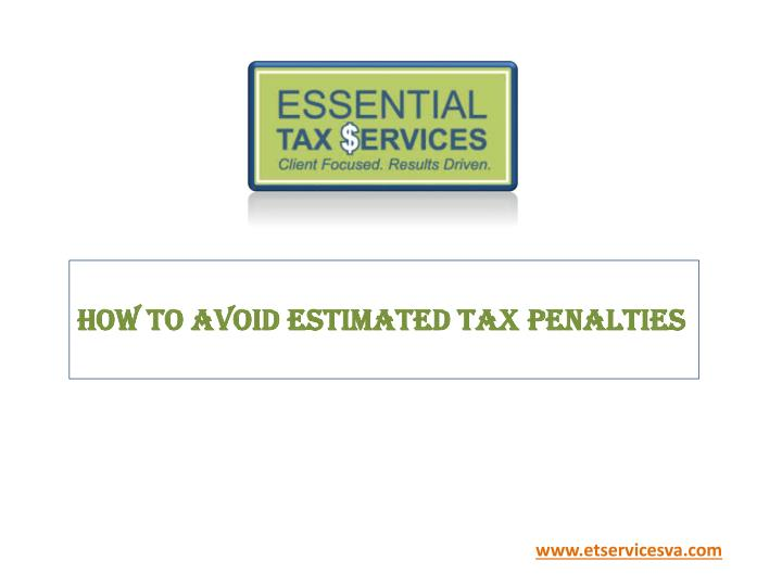 how to avoid estimated tax penalties n.