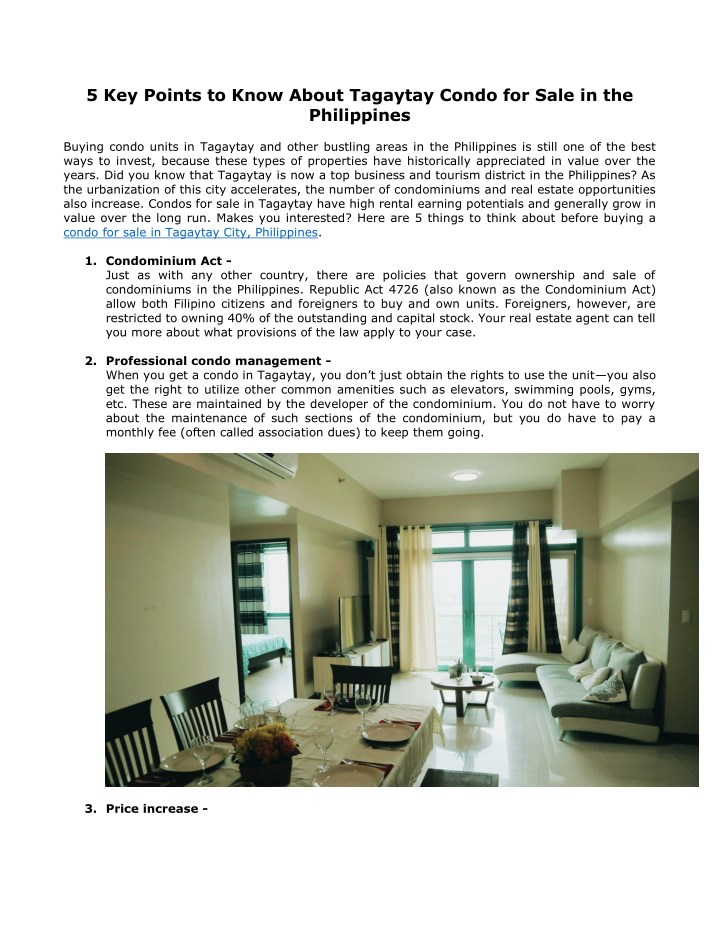 5 key points to know about tagaytay condo n.