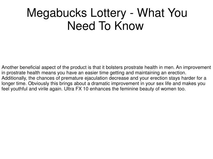 megabucks lottery what you need to know n.