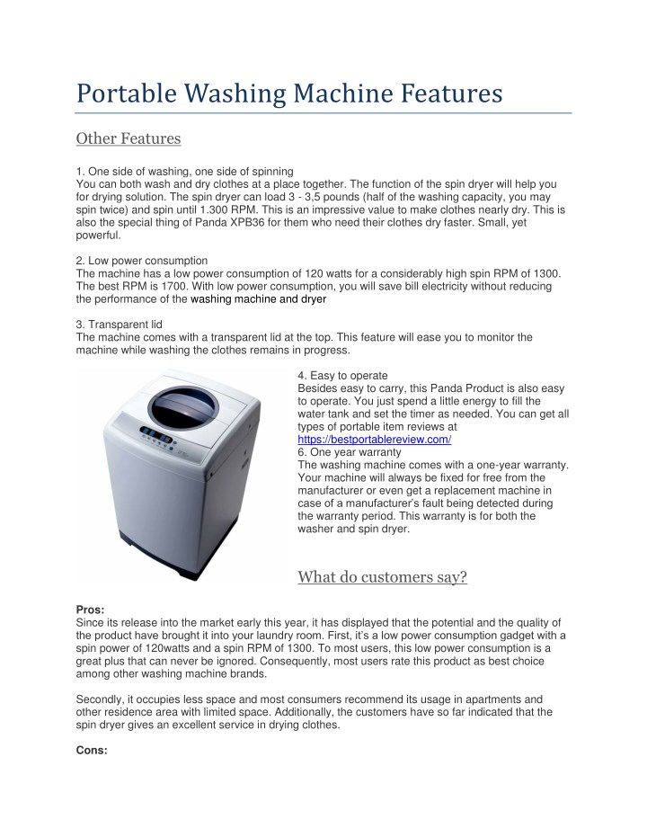 portable washing machine features n.
