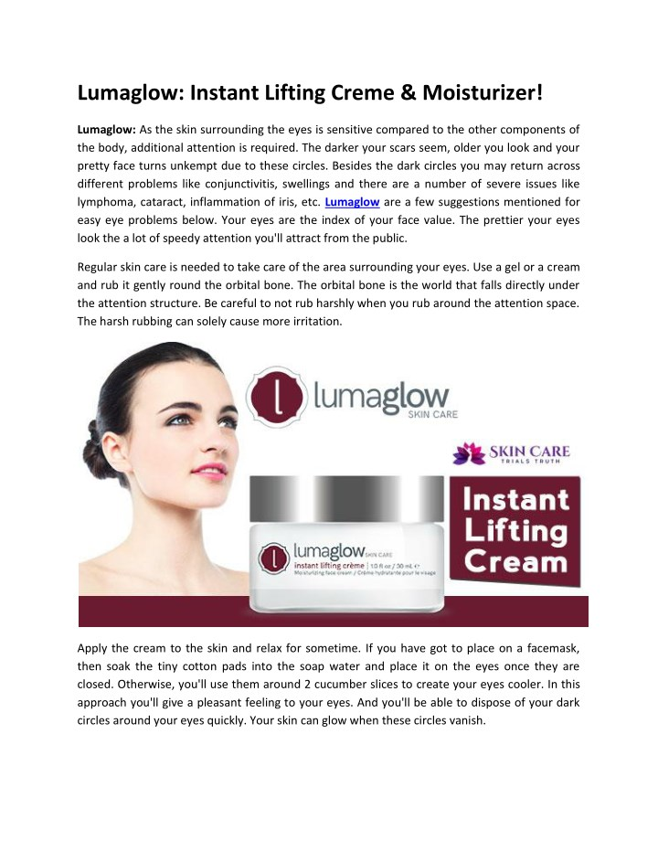 lumaglow instant lifting creme moisturizer n.
