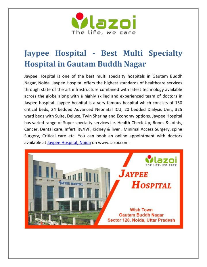 jaypee hospital best multi specialty hospital n.