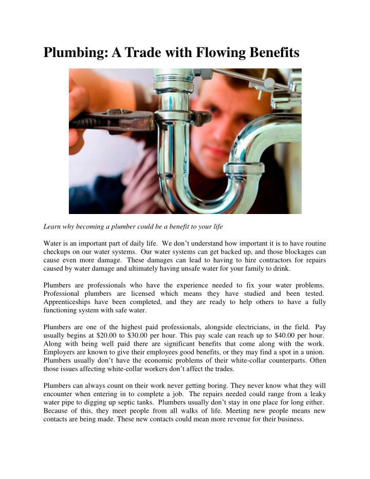 plumbing a trade with flowing benefits n.