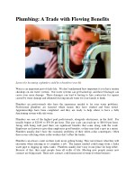 plumbing a trade with flowing benefits