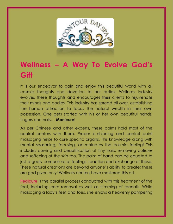 wellness a way to evolve god s gift n.